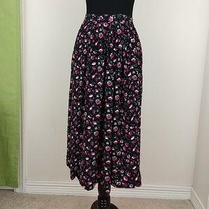 Vintage 1990s Floral Print Midi Skirt Sz S pockets